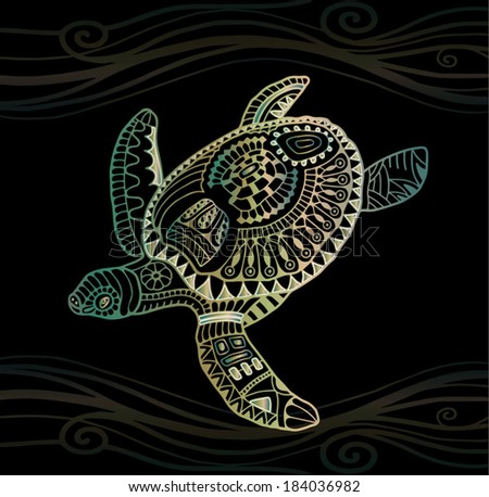 Decorative graphic turtle, tribal totem animal, vector illustration, isolated design elements, green golden on black wave pattern - stock vector