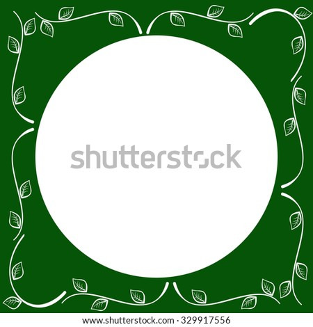 Decorative green background with nice hand drawn sprouts and leaves along the edges. - stock vector