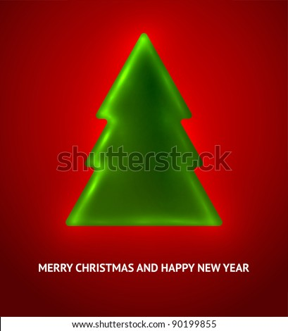 Decorative green Christmas tree. Christmas theme
