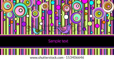 Decorative greeting card with birds - stock vector
