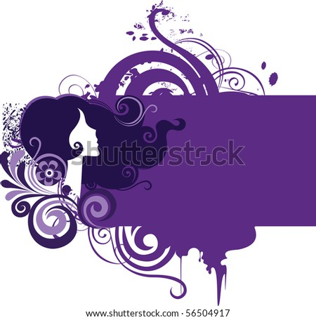 decorative grunge frame with girl and flowers - stock vector