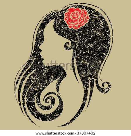 """Decorative grunge portrait of woman with flower in the hair (From my big """"Vintage woman collection """") - stock vector"""