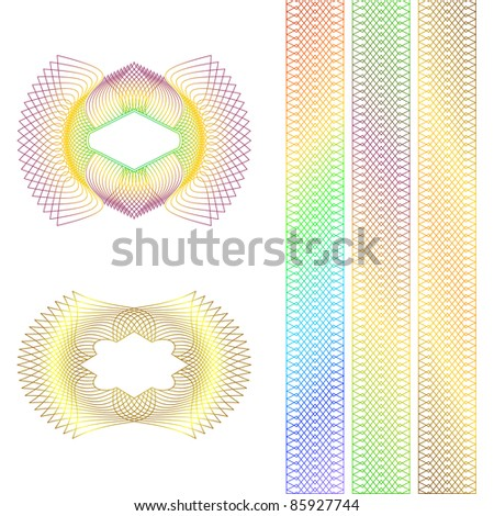 Decorative guilloche rosette and borders on a white background. - stock vector