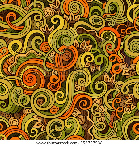 Decorative hand drawn doodle ornamental curl vector sketchy seamless pattern. Can be used for wallpaper, pattern fills, web page background, surface textures - stock vector