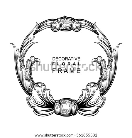 Decorative hand drawn floral frame with stylized leaves. Circular cartouche with central white copyspace for your text. - stock vector