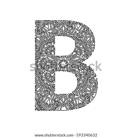 decorative letter b zentangle stylized alphabetnumber 8 doodle style stock 21329
