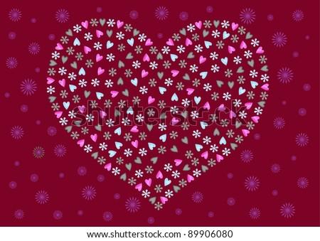 decorative heart on burgundy background - stock vector