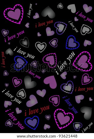 decorative hearts on a black background - stock vector