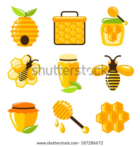 Decorative honey bee hive and cell food agriculture icons set isolated vector illustration. - stock vector