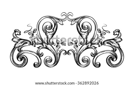 Decorative horizontal border with stylized leaves. Floral graphic frame drawing on a tablet. Contour black frame isolated on white background. - stock vector