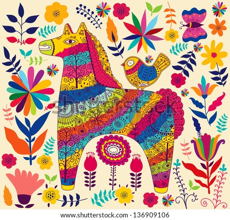 Decorative horse - stock vector