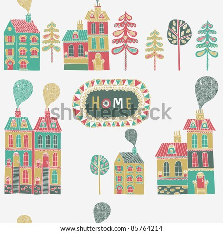 Decorative house seamless background - stock vector