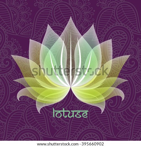 Decorative illustration of lotus flower on abstract patterned background - stock vector