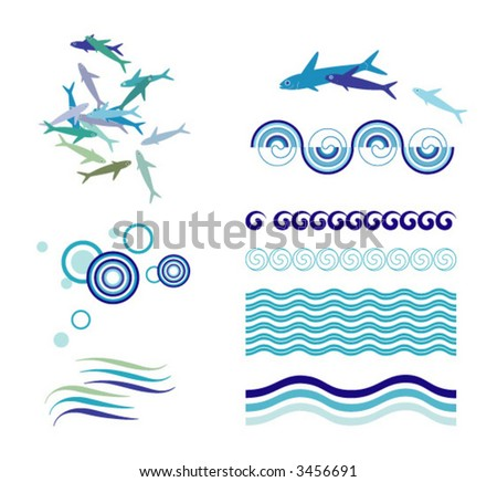 decorative illustration of waves and fish - stock vector