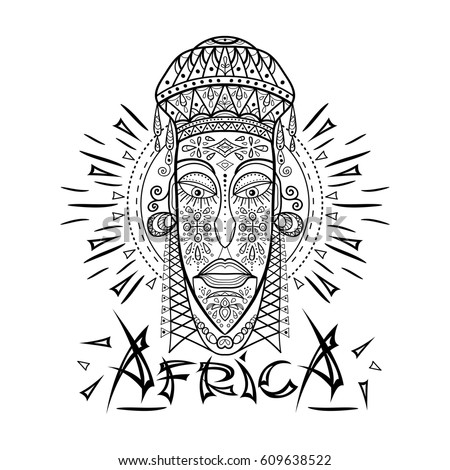 decorative illustration african mask isolated on stock vector 609638564 shutterstock. Black Bedroom Furniture Sets. Home Design Ideas