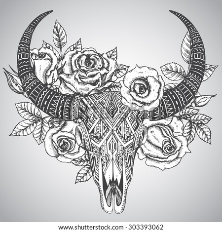 Decorative Indian bull skull in tattoo tribal style with flowers roses and leaves. Hand drawn vector illustration - stock vector
