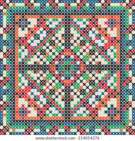 Decorative knit tile, seamless pattern - stock vector