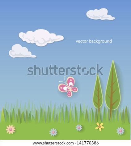 Decorative landscape. EPS 10 - stock vector