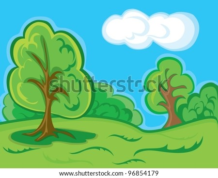 decorative landscape with trees - stock vector