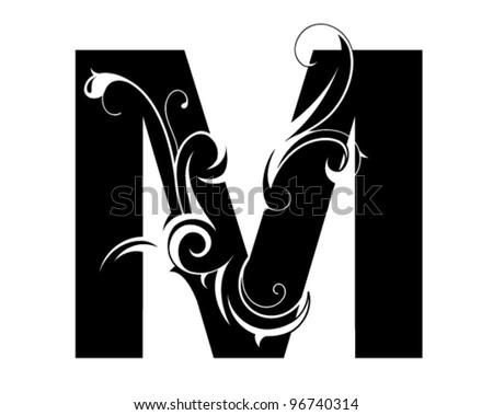 decorative letter shape font m