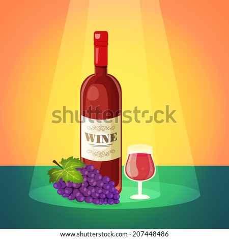 Decorative light dry red wine restaurant bar advertisement poster with wineglass and grapes cluster abstract vector illustration - stock vector