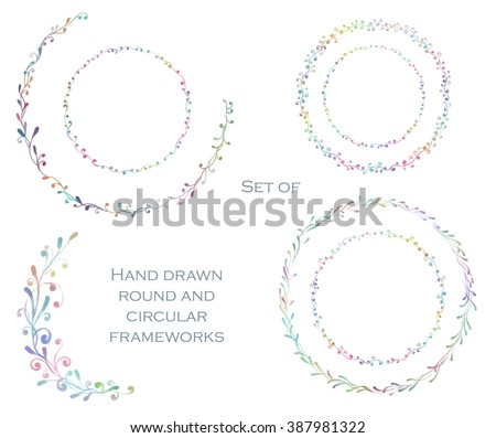 Decorative line art frames for design template. Eastern style, place for text. Watercolor floral border, doodle. Lace hand drawn vector illustration for invitations and greeting cards. - stock vector