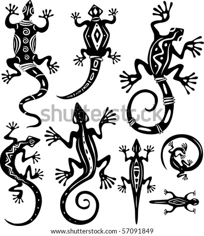 Decorative lizards - stock vector