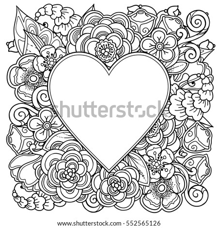 Heart On Flowers Coloring Books Adult Stock Vector 366697169 ...