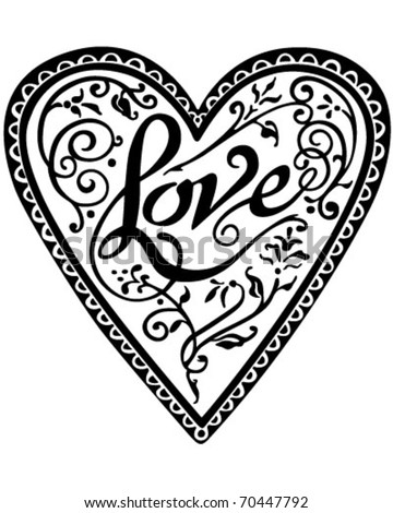 Decorative Love Heart - Retro Clipart Illustration - stock vector