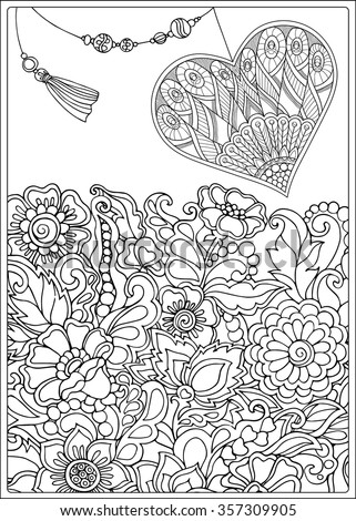 Valentine coloring pages for older kids ~ Decorative Love Heart Flowers Valentines Day Stock Vector ...