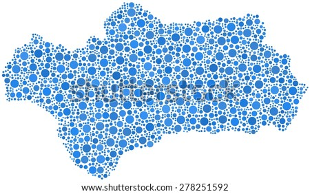 Decorative map of Andalusia - Spain - in a mosaic of blue bubbles - stock vector