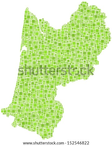 Decorative map of Aquitaine - France - in a mosaic of green squares
