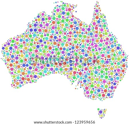 Decorative map of Australia in a mosaic of harlequin bubbles - stock vector