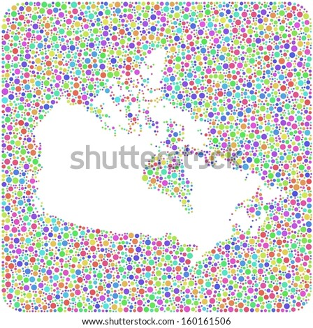Decorative Map of Canada into a square icon. Mosaic of harlequin circles