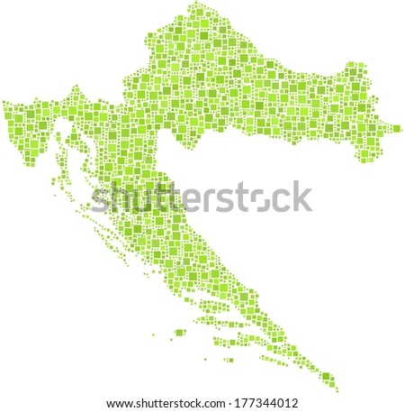 Decorative map of Croatia - Europe - in a mosaic of green squares - stock vector
