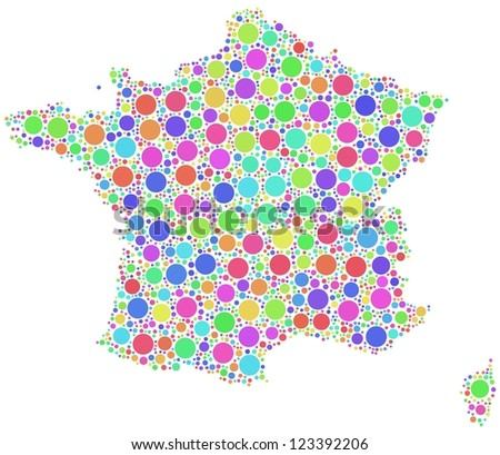 Decorative map of France - Europe - in a mosaic of harlequin circles