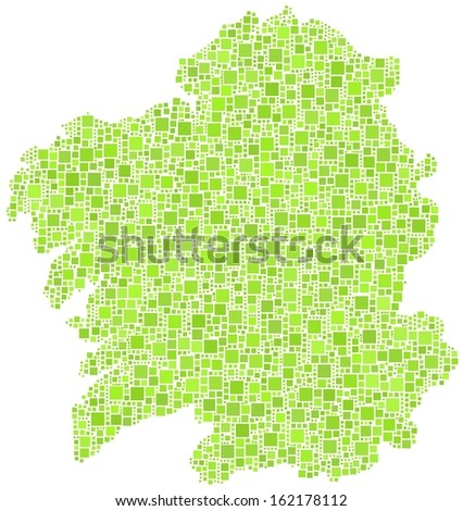 Decorative map of Galicia - Spain - in a mosaic of green square. A number of 3394 little squares are accurately inserted into the mosaic. White background.