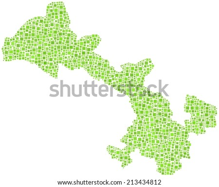 Decorative map of Gansu province of China in a mosaic of green squares - stock vector