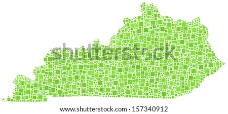Decorative map of Kentucky - USA - in a mosaic of green squares - stock vector