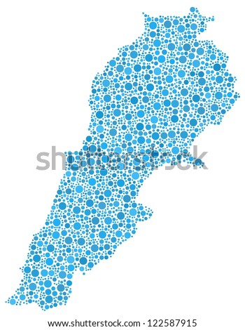 Decorative map of Lebanon - Middle East - A number of 2156 blue bubbles are inserted into the mosaic. White background.