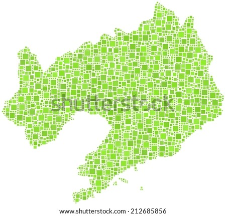 Decorative map of Liaoning province of China in a mosaic of green squares - stock vector