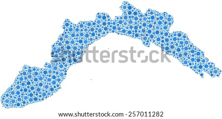 Decorative map of Liguria - Italy - in a mosaic of blue circles - stock vector