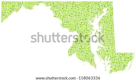 Decorative map of Maryland - USA - in a mosaic of green squares