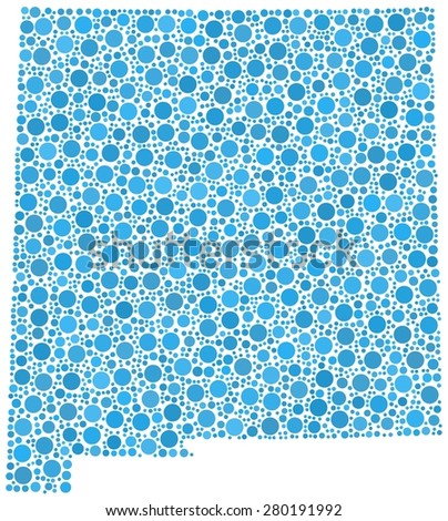 Decorative map of New Mexico - Usa - in a mosaic of blue bubbles - stock vector