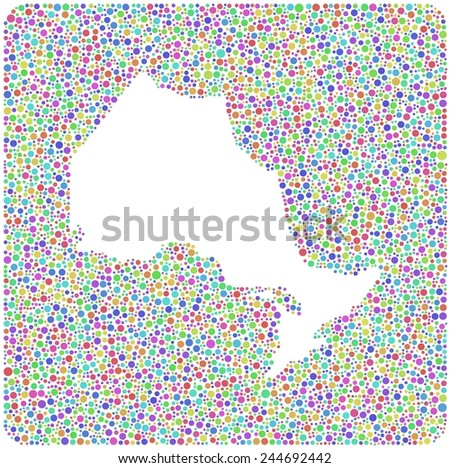 Decorative Map of Ontario - Canada - into a square icon. Mosaic of little harlequin bubbles - stock vector