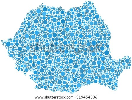 Decorative map of Romania - Europe - in a mosaic of blue bubbles - stock vector