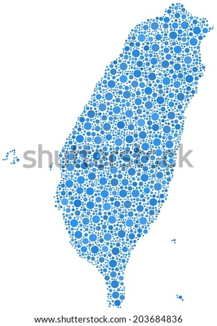 Decorative map of Taiwan - Asia - in a mosaic of blue circles - stock vector