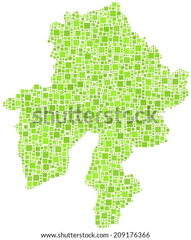 Decorative map of the region of Namur - Belgium - in a mosaic of green squares - stock vector
