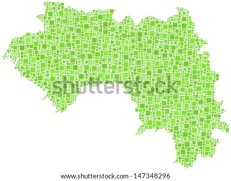 Decorative map of the Republic of Guinea - Africa - in a mosaic of green squares