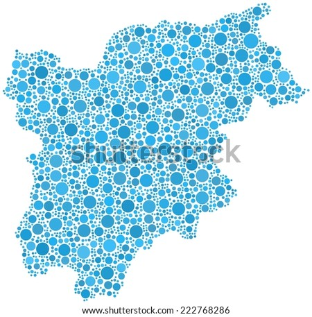 Decorative map of Trentino Alto Adige - Sudtirol - in a mosaic of blue circles - stock vector
